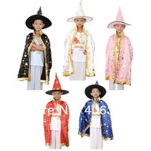 Children satin Halloween cosplay party witch cape cloak black red pink white blue 8 colors children cape hat 75cm length for kid