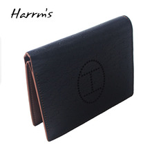 New Sesign Harrms Brand H Wallets Short Ostrich skin genuine leather men wallets blue color high quality purse(China)