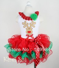 2 Pieces Set - Christmas Red Green Petal Pettiskirt & White Tank Top with Reindeer / Pettitop Size 1-7Y