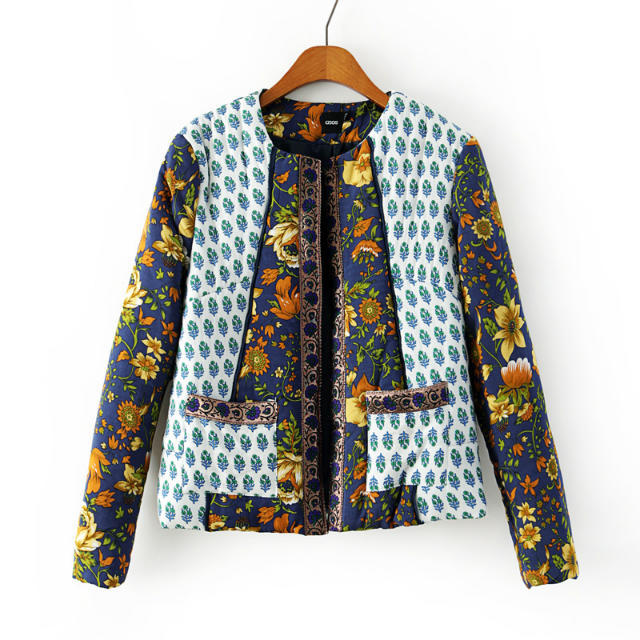 2017 Autumn and winter new style women fashion vintage embroidery print cotton coat, female short casual wadded jacket outerwearОдежда и ак�е��уары<br><br><br>Aliexpress