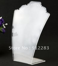 Free Shipping 5pcs 190 x 145mm White 2 Necklace Acrylic Display Stand Holder,Fashion Jewelry Display