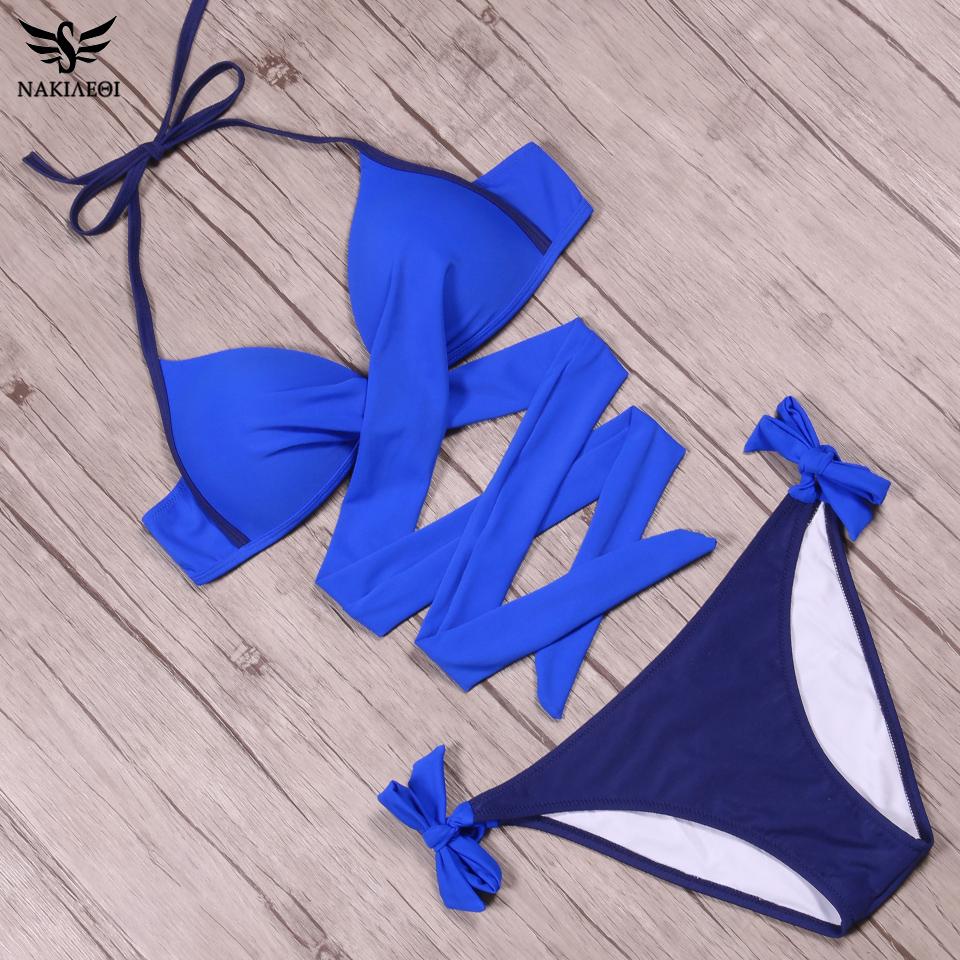 NAKIAEOI 19 Sexy Bikini Women Swimsuit Push Up Swimwear Criss Cross Bandage Halter Bikini Set Beach Bathing Suit Swim Wear XXL 35