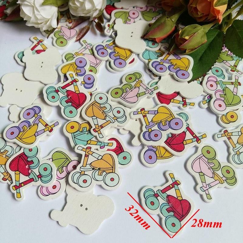 100 stücke Bunte Blume Flatback Holzknopf Sewing Craft Scrapbooking DIY 20 mt