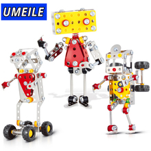 UMEILE Brand 3 Style Robot 3D Metal Puzzle Nut Screw Assemble Gift For Boys Models & Building Toy(China)