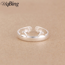 Free Shipping New Arrivals 925 Sterling Silver Cat Rings Open Rings Jewelry For Women Girl Gift(China)