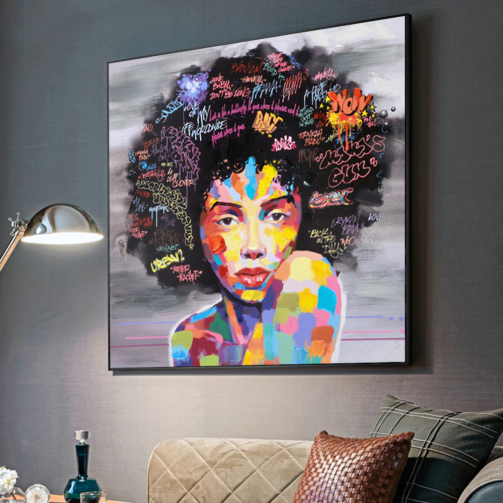 A0 canvas modern painting wall Graffiti Street Art  Print girl woman face