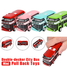 Random color Pull Back Bus Collection Model Double-decker Bus Alloy Die Cast City Bus For Kid(China)