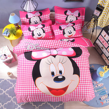 Fashion Pink Houndstooth Cartoon 4Pcs Twin/Full/Queen Size Bed Quilt/Duvet/Doona Cover Set & Flat/Fitted Sheet Shams Girl's Bed