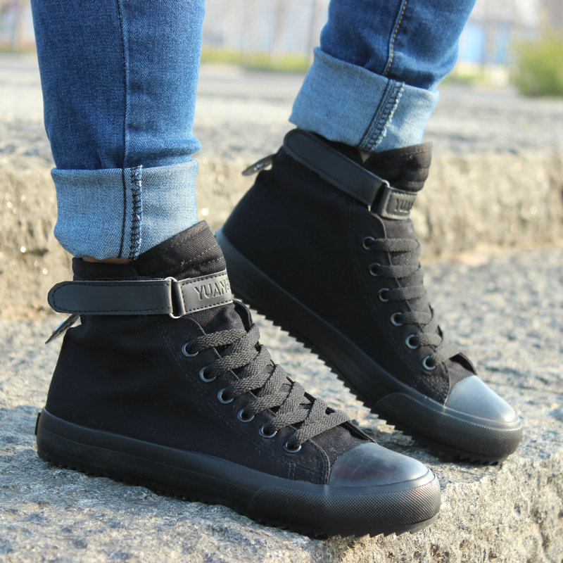 2017 New Spring/Autumn Men Casual Shoes Breathable Black High-top Lace-up Canvas Shoes Espadrilles Fashion White Mens Flats<br><br>Aliexpress