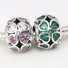 925 Sterling Silver Green Pink Lucky Clover Charm Fit Original  Bracelet Necklace Authentic Jewelry Women Christmas Gift