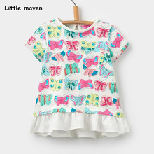 Buy Little maven children 2018 summer baby girl clothes short sleeve butterfly print t shirt Cotton brand tee tops 50997 for $5.93 in AliExpress store