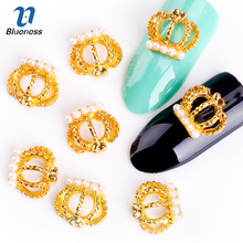 Синева 10 шт./лот 3D блеск ногтей инструменты сплава со стразами Золотая Корона Дизайн Типсы шпильки оптовые TN553(China)