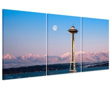 5 Picture Combination Seattle Needle City Canvas Print Seattle City Panorama City View Art Print Black and White Seattle Canvas(China)