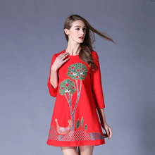2017 new spring and summer seven sleeve loose large size women heavy craft embroidery dress boutique(China)