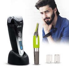 Hot LCD Display Electric Shaver 4 Blade Rechargeable Mens Shaving Razor Quick Charge Barbeador +Gift Nose Ear Hair Trimmer S4243