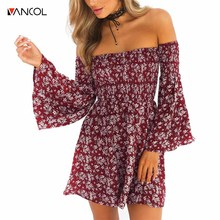 vancol 2017off shoulder print dress wine red high waist flare sleeve slash neck pleated mini dress Chic vestidos boho dress