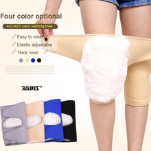 AOLIKES 1 Pair Winter Warm Wool Knee Brace Elastic Breathable Knee Support Health Care Knee Protector Knee Pads(China)