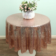 48'' Round champagne Sequin Table linen Overlay Glitter TableCloths Sparkly bling Wedding party decoration