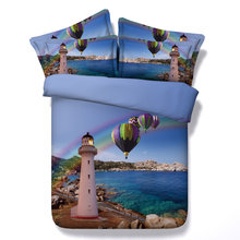 Royal Linen Source 4 Parts Per Set Beautiful coast line with lighthouse and hot air balloons 3d bed set