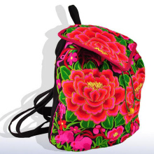 Vintage Embroidery Hmong National Floral backpack flower embroidered shoulder bag canvas Rucksack mochilas escolares femininas