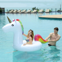 Giant Inflatable Unicorn Swimming Rings Animal Pool Toy Swimming Game Toys Air Mattresses Large Floating Island Boat Toy Party