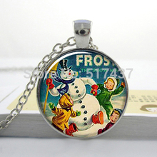1 PC New Frosty the Snowman Christmas necklace pendant, holiday jewelry, Christmas necklace charm gifts for her