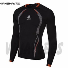 New arrival Quick Dry Compression Shirt Long Sleeves TrainT-shirt  Fitness Clothing Print Bodybuild Crossfit