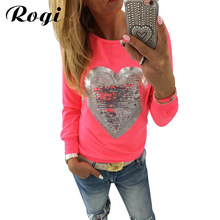 Rogi Women Sequined  Hoodies Sweatshirt 2017 Long Sleeve Heart Pullovers Tracksuit Lady Tops Sudaderas Mujer Poleras Camisetas
