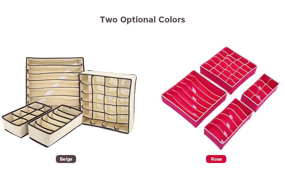 4pcs Collapsible Storage Boxes Bra Underwear Closet Organizer Divider Drawer