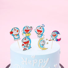 24pcs Blue fat man flag kids birthday party cake decoration cake toppers masked man cake picker happy birthday party supply(China)