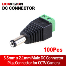 100Pcs/lot 5.5/2.1mm DC Connector CCTV UTP Cable Power Plug Adapter Cable DC/AC 2/Camera Video Balun Connector