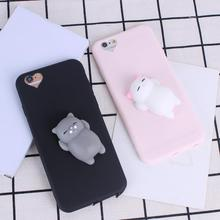 Phone Case for iPhone 6 6S 6 plus 3D Cute Soft Silicone Squishy Cat Fundas for iPhone 7 7 plus Cover Candy Color Coque