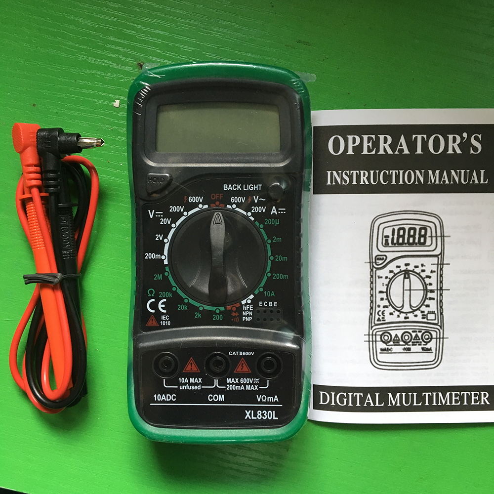 Yuniroom Digital Multimeter XL830L Multimeter Backlight Digital LCD Multimeter Voltmeter Ammeter AC DC OHM Volt Tester Test Current Measuring Meter Color : Green