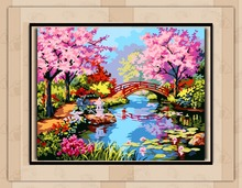Warm Jiangnan Spring Scenery DIY digital painting by numbers kits acrylic color drawing by numbers for kids unique gift E002