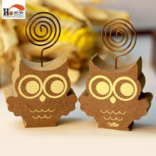 1x CUSHAWFAMILY Cute animals owl hedgehog photos clip holder,wooden message note clip picture holder Home decor Arts crafts gift(China)