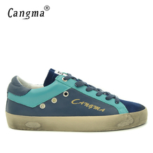 CANGMA British Brand Sneakers Male Adult Latest Shoes Navy Blue Casual Shoes Men Genuine Leather Breathable Handmade Bass Flats(China)