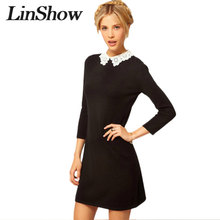 Ladies Black Dress White Collar Fashion Korean Style Peter Pan Collar Straight Mini Dresses Autumn Patchwork Basic Lace Dress(China)