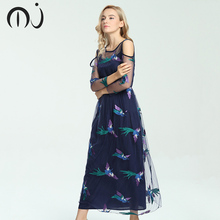 Buy Bohemian Lace Long Dress Sexy Print Floral Embroidery Dress Plus Size Mesh Sleeve Summer Women Dress Casual Party Dress MJ0191 for $25.14 in AliExpress store