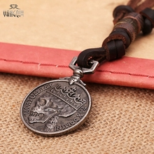 Handmade Antique Silver Coins Skull Pendant Real Leather Necklace for Men Brown Chains Punk Jewelry