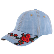 promotion cheap women girl brand hat baseball cap Plum floral flower style denim cotton mix colorful spring autumn summer hats