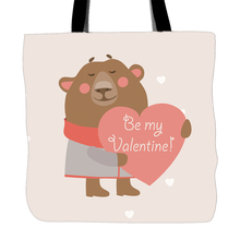 Be My Valentine Cute Animals Printed Tote Bags Double Sided Printing Handle Shopping Canvas Bag For Couple Lovers(China)