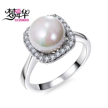 DreamCarnival 1989 White Created Pearl Rings for Women Elegant Wedding Jewelries Shinny CZ Crystals Anel Mujeres Anillos Alyans(China)