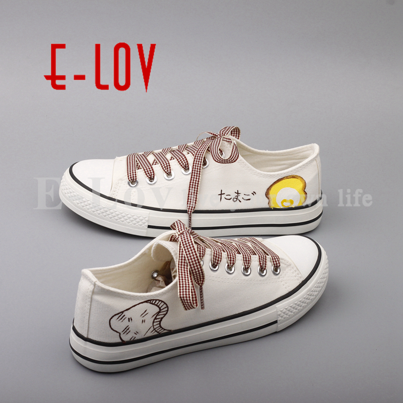 E-LOV 2017 Spring Autumn Womens Shoes Cartoon Anime Hand Painted Canvas Shoes Female Graffiti Casual Shoes zapatillas mujer<br>