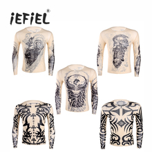 iEFiEL Fashion Mens t shirt Fake Tattoo Design Elastic See Through Full Long Sleeve O-Neck T-Shirt for Men's Halloween Clothing(China)