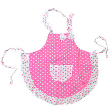 Cute Pink Bowknot Polka Dots Frills Design Beautiful Princess Sleeveless Apron For children Kids Little Helper Kitchen Cook(China)