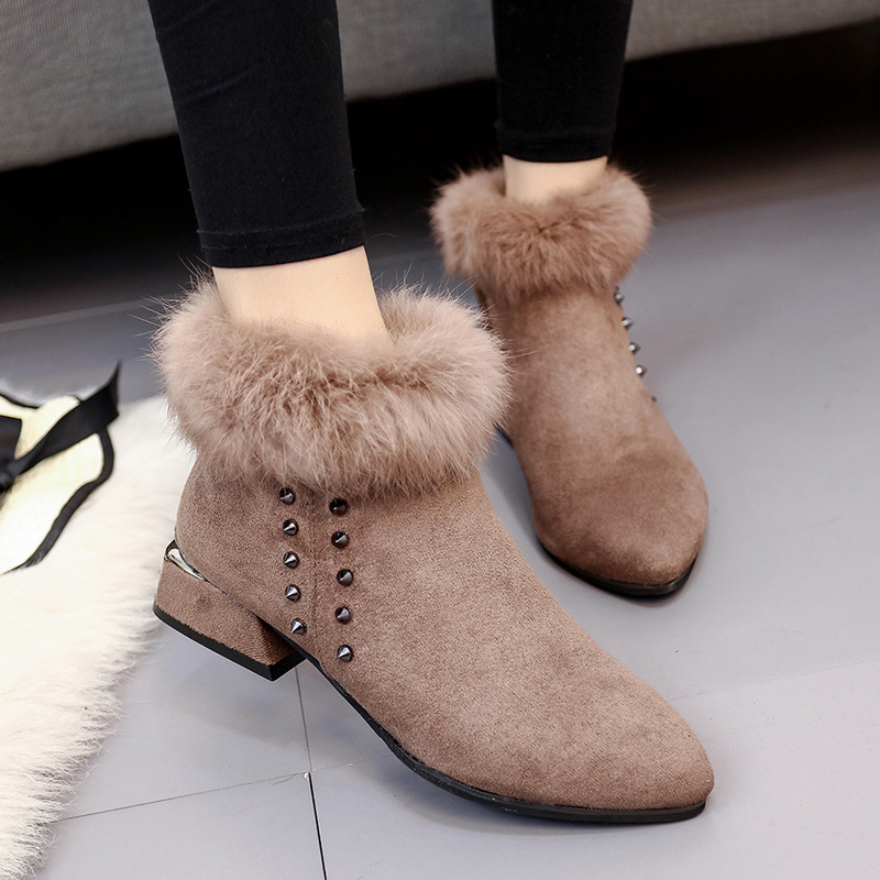 SWYIVY Female Snow Boots Warm Winter 2018 New Female Fur Ankle Boots Casual Shoes Pointed Toe Revit Fashion Velvet Snow Boots