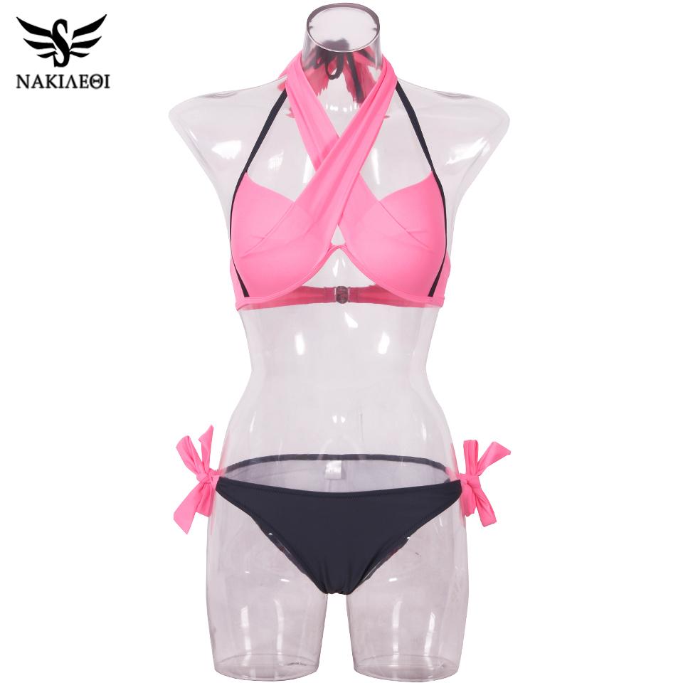 NAKIAEOI 19 Sexy Bikini Women Swimsuit Push Up Swimwear Criss Cross Bandage Halter Bikini Set Beach Bathing Suit Swim Wear XXL 77