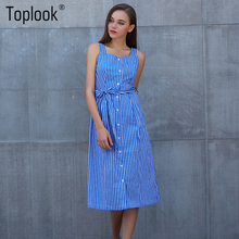 Toplook Blue Striped Dress Bow Bandage Sexy Summer Off Shoulder Women Party Dresses Single-Breasted Midi Elegant Shirt Dress