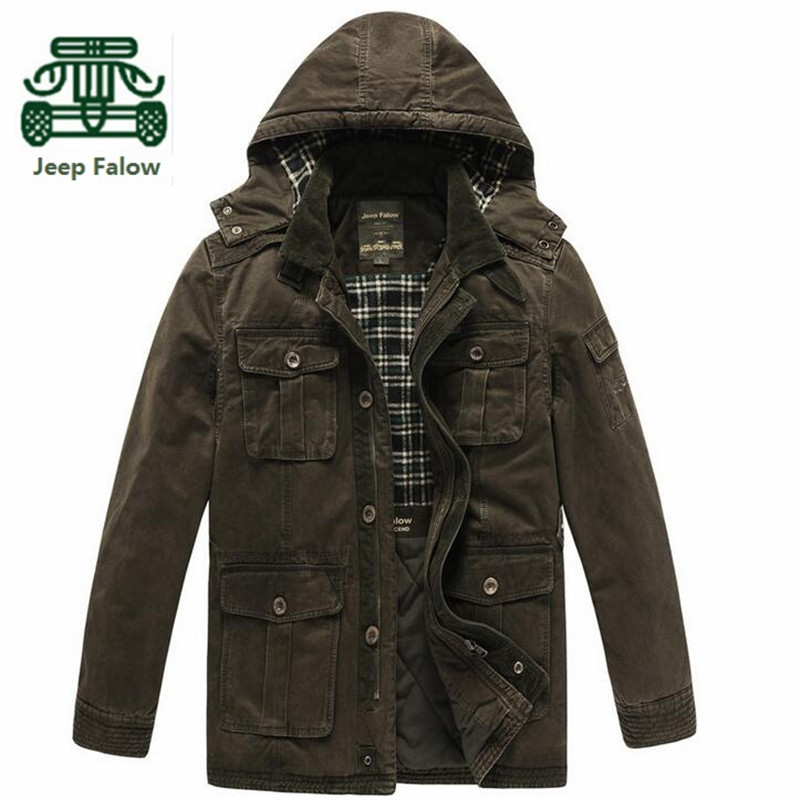 AFS JEEP Falow Winter Mans Thickness Long Coat High Quality Military Cargo Jacket Cotton Coats,Army Green/Khaki Cardigan JacketОдежда и ак�е��уары<br><br><br>Aliexpress