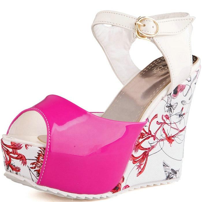 New Fashion Hot sale Summer wedges sandals female shoes women platform shoes print heel Flip Flops open toe high-heeled shoes<br><br>Aliexpress